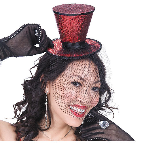 50aaac0ef5b68 Red Glitter Mini Top Hat with Veil 6 1 2in x 4 3 4in