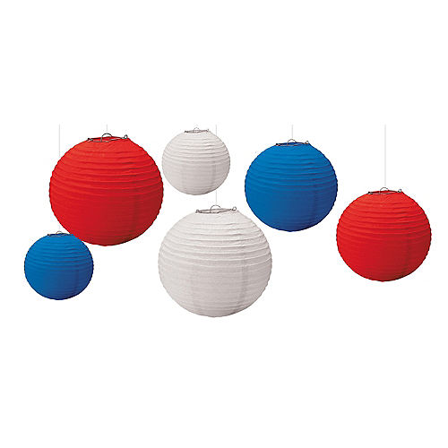 Patriotic Red White Blue Paper Lanterns 6ct