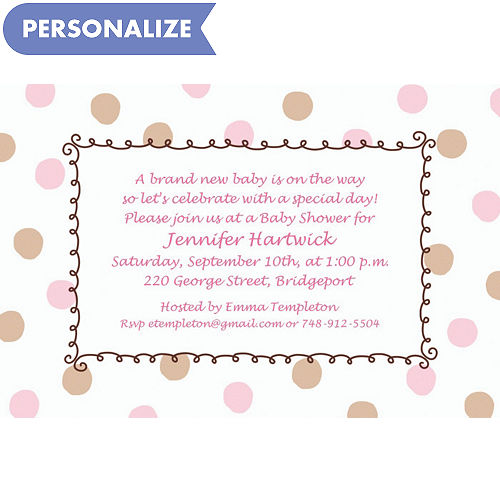 custom baby shower invitations for girls party city