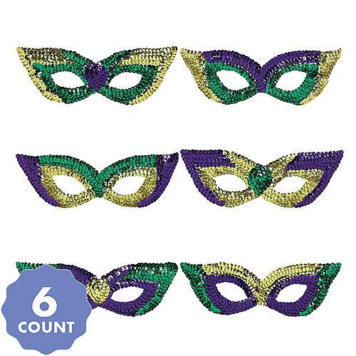 Sequin Mardi Gras Eye Masks 6ct