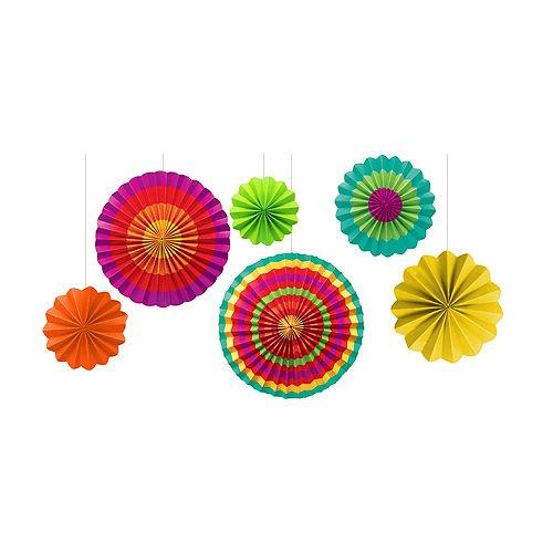 Fiesta Paper Fan Decorations 6ct