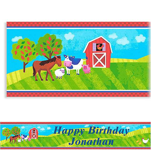 Custom Barnyard Birthday Banner 6ft