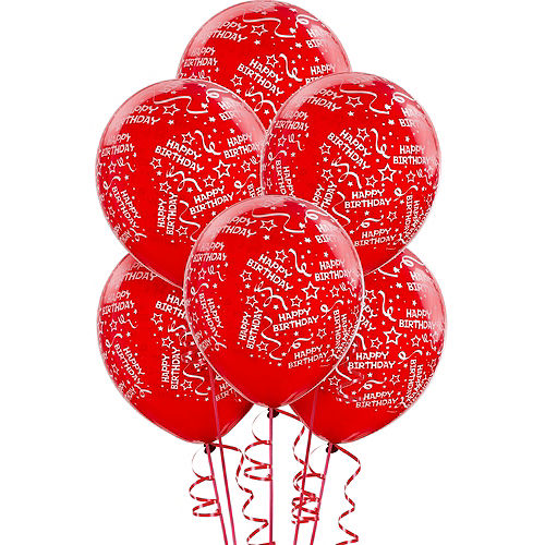 Red Birthday Balloons 6ct