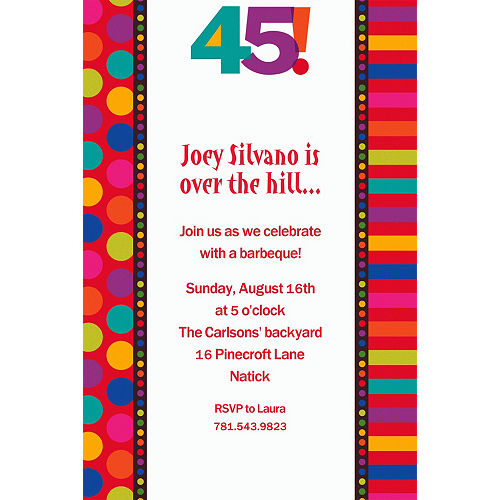 Birthday invitations custom birthday party invites party city custom birthday dots stripes 45th invitations filmwisefo