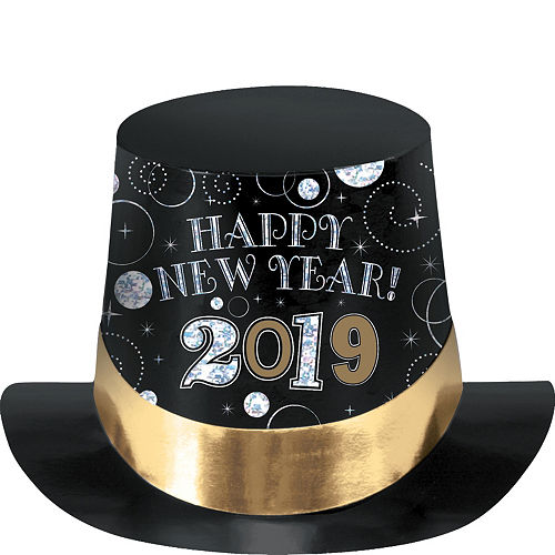 black gold silver 2019 new years top hat