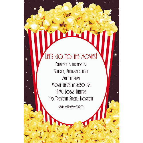 Hollywood party invitations party city custom movie night popcorn invitations filmwisefo