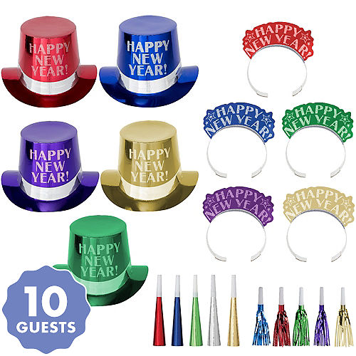kit for 10 midnight elegance colorful new years party kit