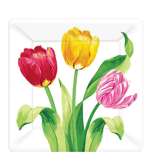 Spring party supplies themes decorations party city spring tulips dessert plates 8ct mightylinksfo