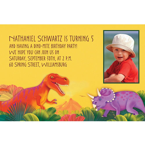Custom Prehistoric Dinosaurs Photo Invitations