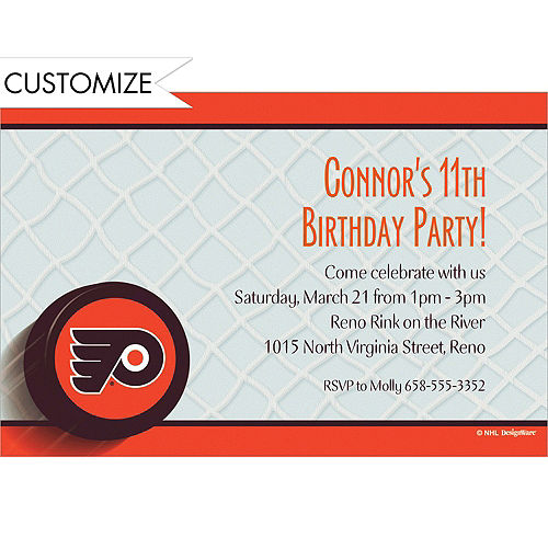 custom philadelphia flyers invitations