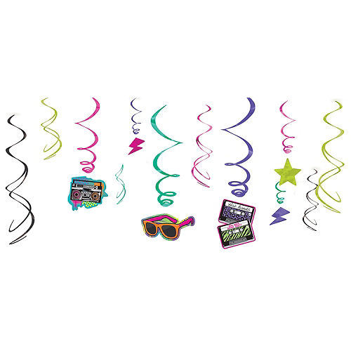 Totally 80s Swirl Decorations 12ct