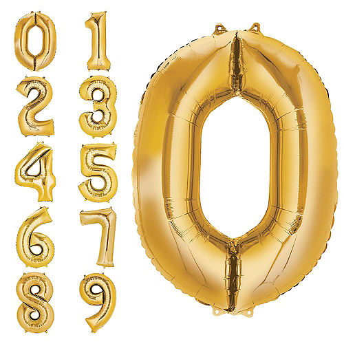 34in Gold Number Balloon 0
