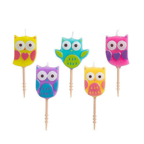 Owl Birthday Toothpick Candles 5ct