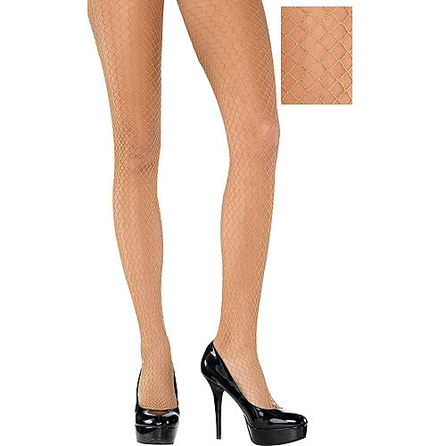 0d8e0785a Adult Wide Diamond Gold Fishnet Pantyhose