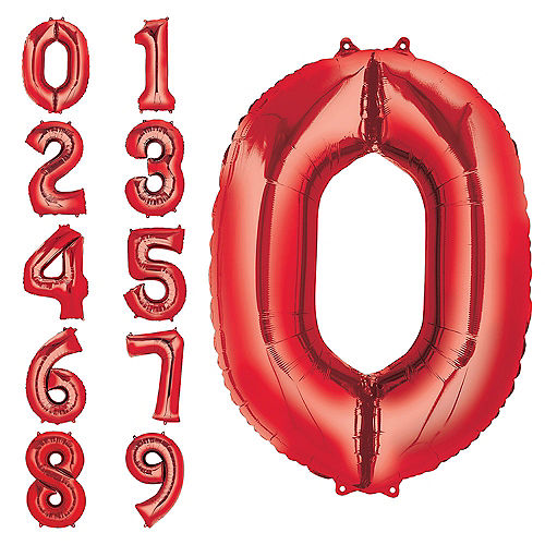 34in Red Number Balloon 0