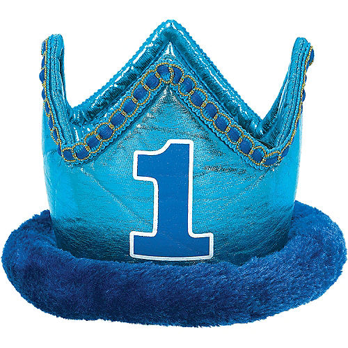 Small Blue 1st Birthday Plush Crown
