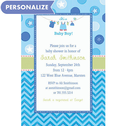 Custom baby shower invitations baby shower invites party city custom shower with love boy invitations filmwisefo
