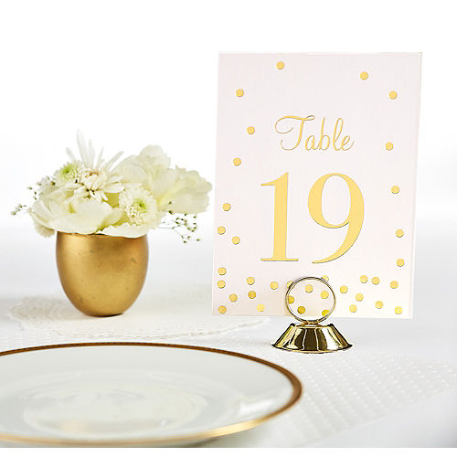 gold table number place card holder - Table Place Cards