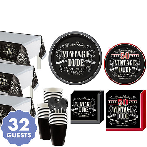 Vintage Dude 50th Birthday Party Kit