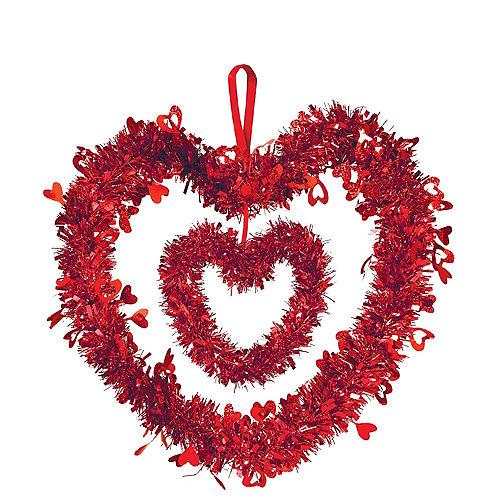 Hanging Tinsel Double Heart