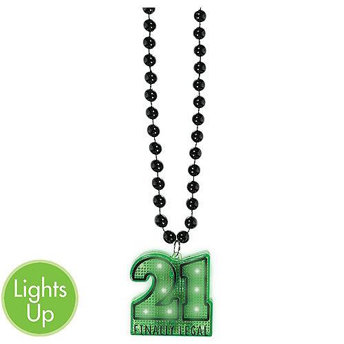 Light Up 21st Birthday Pendant Bead Necklace