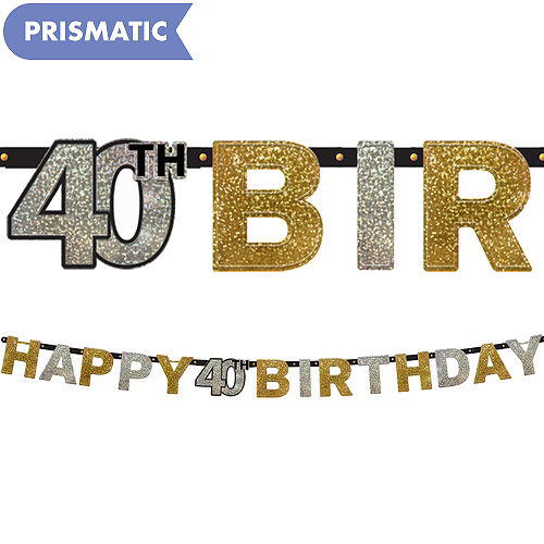 Prismatic 40th Birthday Banner