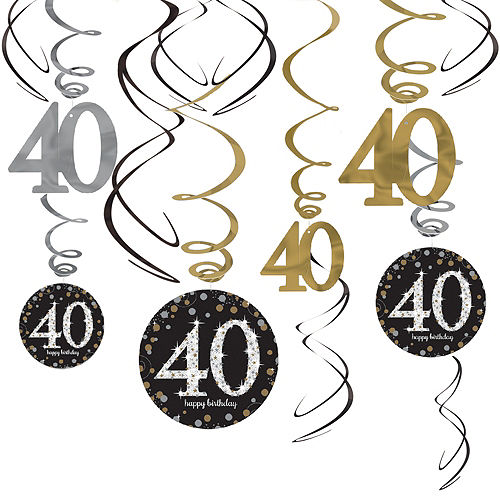 40th Birthday Swirl Decorations 12ct