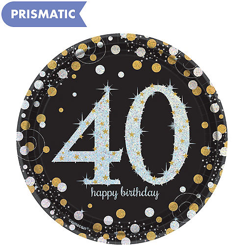 Prismatic 40th Birthday Dessert Plates 8ct