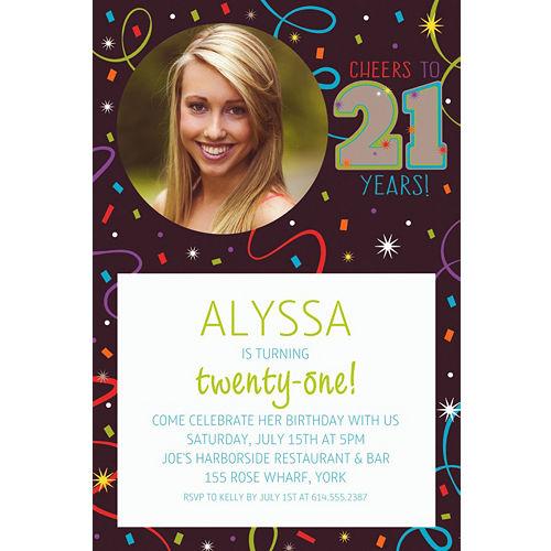 21st birthday invitations party city superboomviafo custom brilliant 21st birthday photo invitation stopboris Image collections