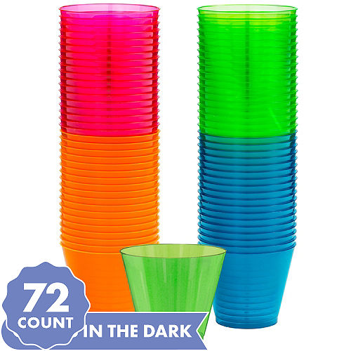 Big Party Pack Black Light Neon Plastic Tumblers 72ct