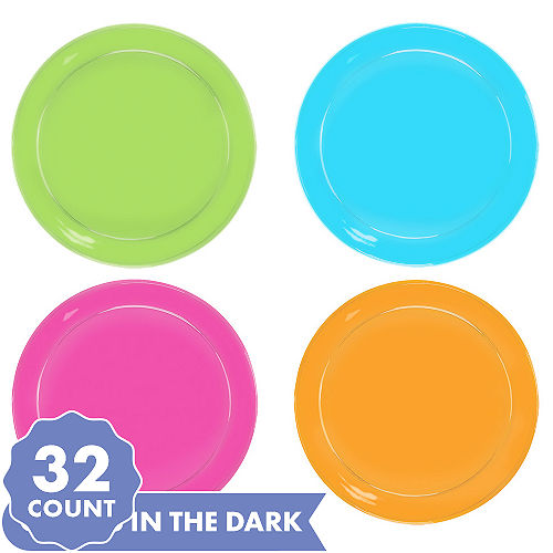 Big Party Pack Black Light Neon Plastic Snack Plates 32ct