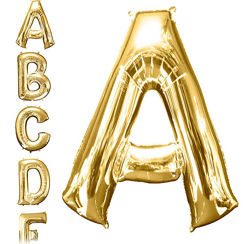 5ee29568d5 34in Gold Letter Balloon (A)