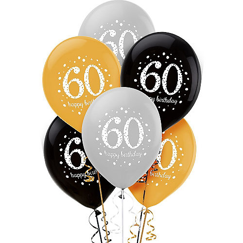 60th Birthday Balloons 6ct