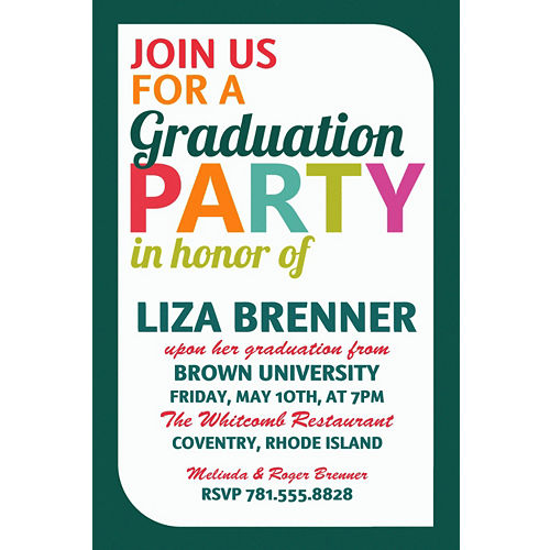 Custom graduation invitations party city custom bright grad text invitation filmwisefo
