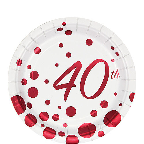 Ruby Dots 40th Anniversary Dessert Plates 8ct