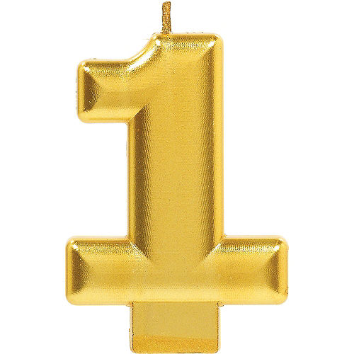 Gold Number 1 Birthday Candle