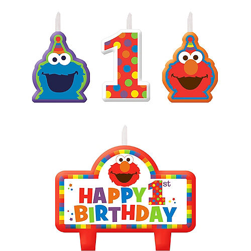 Elmo 1st Birthday Candles 4ct