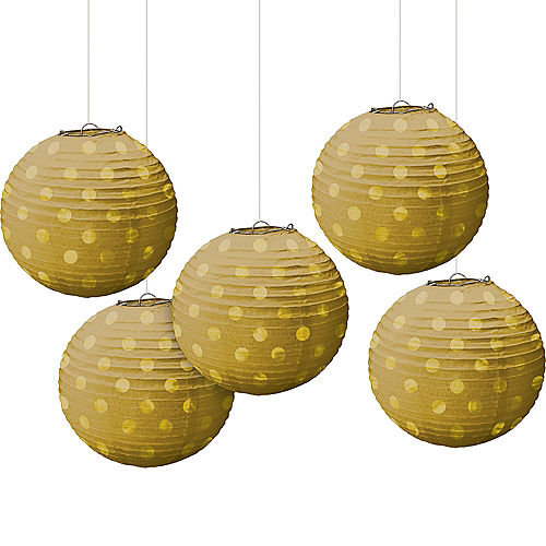 Mini Gold Polka Dot Paper Lanterns 5ct
