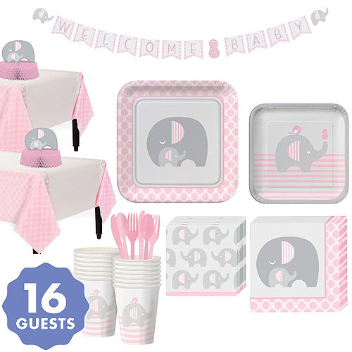 Pink Baby Elephant Tableware Kit 16 Guests
