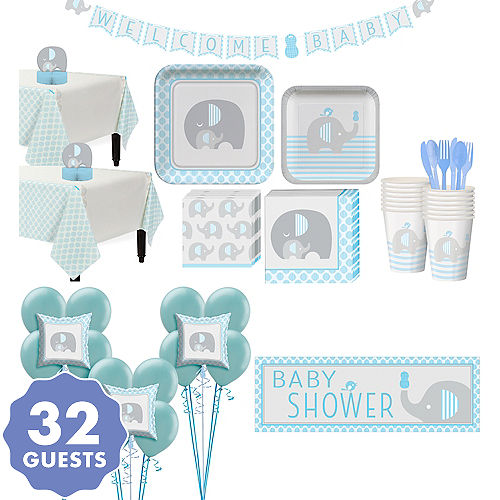 Blue Baby Elephant Premium Shower Kit For 32 Guests