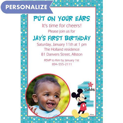 Mickey mouse 1st birthday party supplies party city custom mickeys 1st birthday photo invitation filmwisefo