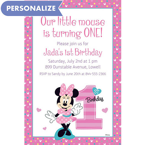 Custom Minnies 1st Birthday Invitation