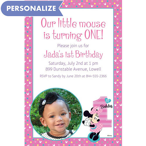 Custom Minnies 1st Birthday Photo Invitation