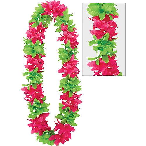 Hawaiian leis luau tinsel flower leis party city green pink flower lei mightylinksfo