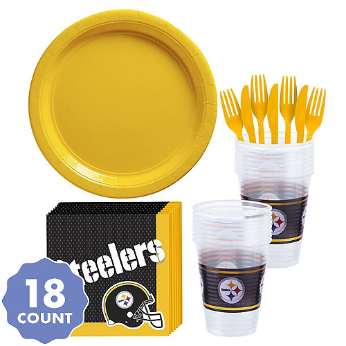 Nfl pittsburgh steelers party supplies party city pittsburgh steelers party kit for 18 guests filmwisefo