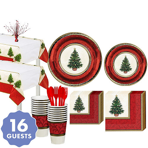 classic christmas tree tableware kit for 16 guests