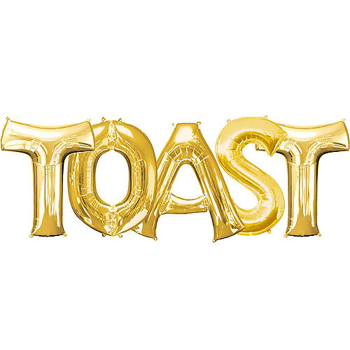giant gold toast letter balloon kit 5pc
