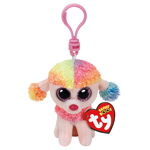 Clip On Rainbow Beanie Boo Poodle Dog Plush