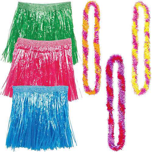 Adult Warm Luau Hula Skirt Costume Accessory Kit For 3 Guests