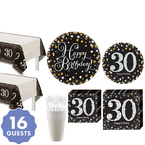 0287664fd Sparkling Celebration 30th Birthday Party Kit for 16 Guests
